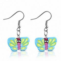 Boucles d'oreilles pendantes en forme de goutte de papillon coloré en alliage fashion avec fimo / argile polymère (paire)
