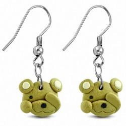 Boucles d'oreilles pendantes en forme de crochet en alliage de mode en alliage fimo / argile polymère avec furtivité (paire)