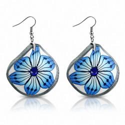Boucles d'oreilles en alliage  Fimo / Polymer en forme de fleur boucles d'oreilles à crochet et saphir bleu CZ (paire)