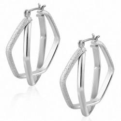 Boucles d'oreilles à pince en forme de dôme pour le Pentagone avec emboîtement en cuivre plaqué platine