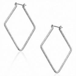 Boucles d'oreilles à pince à paillettes à la mode en forme de diamant et de cuivre plaqué platine