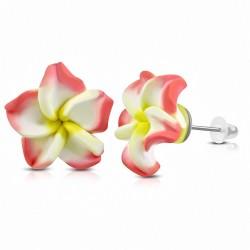 8mm |Boucles d'oreilles à la mode en forme de fleur de Fimo / Polymère avec Plumeria (paire) - FEM367