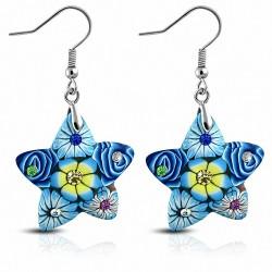 Boucles d'oreilles en alliage fimo / argile polymère fleur rose étoile avec crochet en forme de coeur avec coloris CZ (paire)