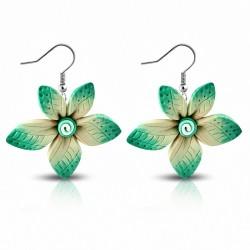 Boucles d'oreilles pendantes en forme de fleur en alliage de fimo / argile polymère à la mode (paire) - FEM429