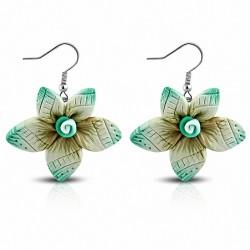 Boucles d'oreilles pendantes en forme de fleur en alliage de fimo / argile polymère à la mode (paire) - FEM430