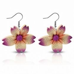 Boucles d'oreilles pendantes en forme de fleur en alliage de fimo / argile polymère à la mode (paire) - FEM431