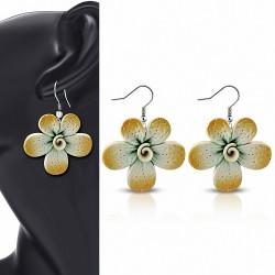 Boucles d'oreilles pendantes en forme de goutte de fleur de fimo / argile polymère à la mode en alliage (paire) - FEM433