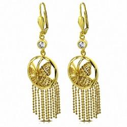 Boucles d'oreilles fantaisie papillon fantaisie papillon fantaisie plaqué de couleur de cuivre doré avec CZ transparente (paire)
