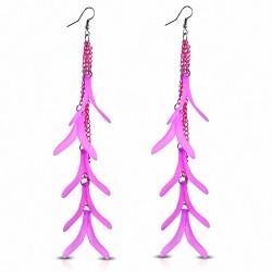 Alliage & Résine Fantaisie Feuilles Fantaisie Rose Long Drop Drop Slinky Hook (paire)