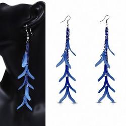 Alliage & Résine Bleu Fantaisie Feuilles Long Drop Slinky Hook Boucles d'oreilles (paire)
