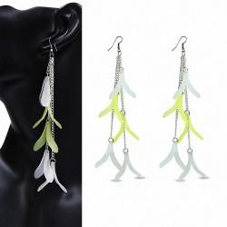 Alliage & Résine Clair & Vert Fantaisie Feuilles Long Drop Slinky Hook (paire)