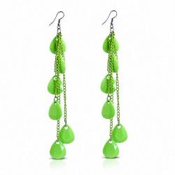 Alliage & Résine Vert Teardrop Slinky Long Drop Boucles d'oreilles crochet (paire)
