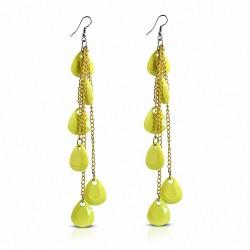 Alliage & Résine Jaune Teardrop Slinky Long Drop Boucles d'oreilles crochet (paire)