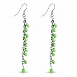 Boucles d'oreilles à la mode en résine verte avec boucles d'oreilles à boucles longues et crochues (paire)