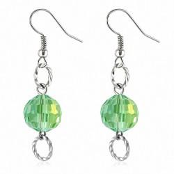 Boucles d'oreilles à la mode avec perles acryliques vertes et crochets (paire)