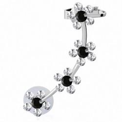 Boucle d'oreille punk avec pince  en alliage à la mode en spiralemotif de fleurs en spirale zircon blanc noir (1 pièce)