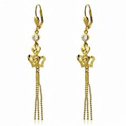 Boucles d'oreilles à glands multicolores fantaisie avec coeur fantaisie et torsades en cuivre plaqué de couleur d'or (paire)