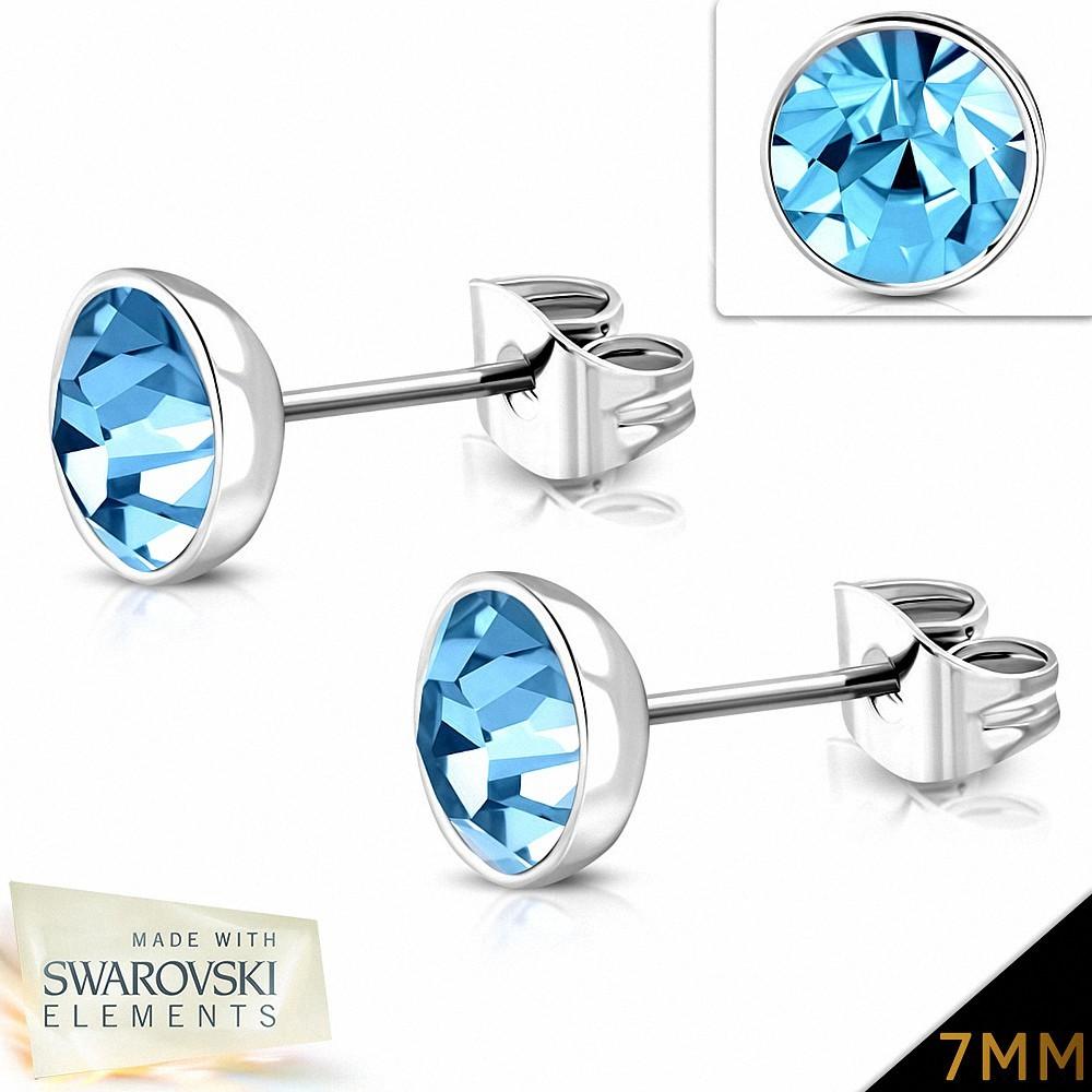 7mm |Boucles d'oreilles en acier inoxydable serti de cristaux et de cristaux  Light Sapphire (paire)