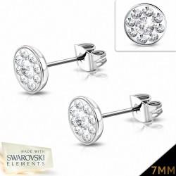 7mm  Boucles d'oreilles à boutons et pavé de fleurs en acier inoxydable avec cristaux   (paire)