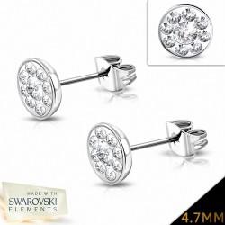 4.7mm |Boucles d'oreilles à boutons et pavé de fleurs en acier inoxydable avec cristaux   (paire)