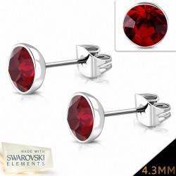 4.3mm |Boucles d'oreilles en acier inoxydable avec cristaux Siam  (paire)