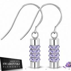 Boucles d'oreilles crochet en acier tube Eternity cristaux violet