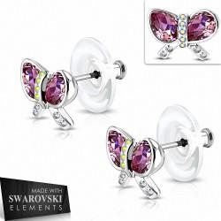 Boucles d'oreille en forme de ruban en forme de larme avec ruban en cuivre plaqué platine et cristaux rose de   (paire)