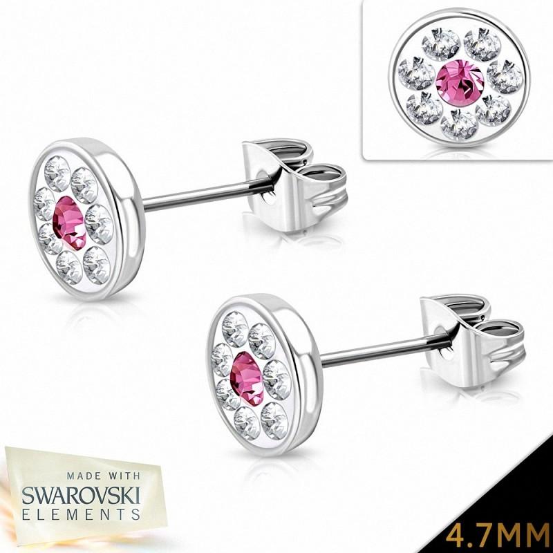 4.7mm |Boucles d'oreilles à boutons et pavé de fleurs en acier inoxydable avec cristaux de  Rose claire et rose (Paire)