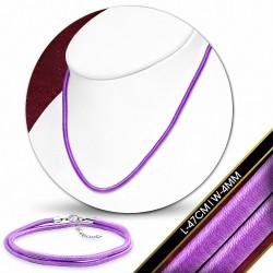 47cm x 4mm  Collier ras de cou en caoutchouc enrobé de tissu à la mode pourpre / violet avec verrou en cuivre