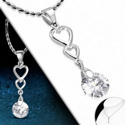 Alliage de mode ouvert amour coeur voyage collier de chaîne de charm avec  Clear CZ