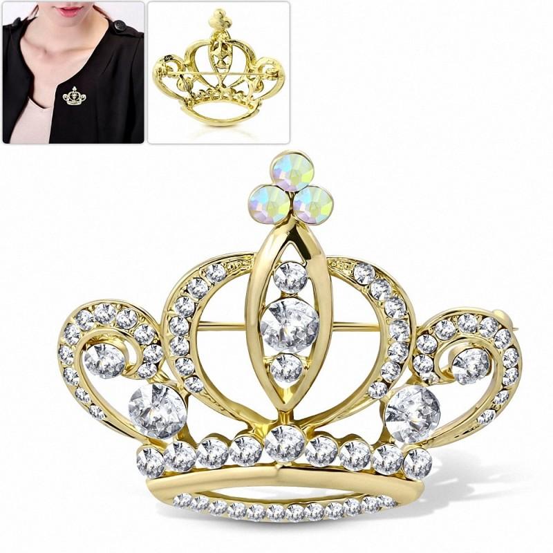 Alliage doré de mode à la mode Royal Princess Crown Women Pin Pin avec / Clear & Aurore Boreale CZ