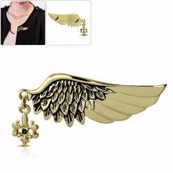 Alliage fashion aile ange gardien plume fleur de lis fleur broche charm broche  noir de jet CZ