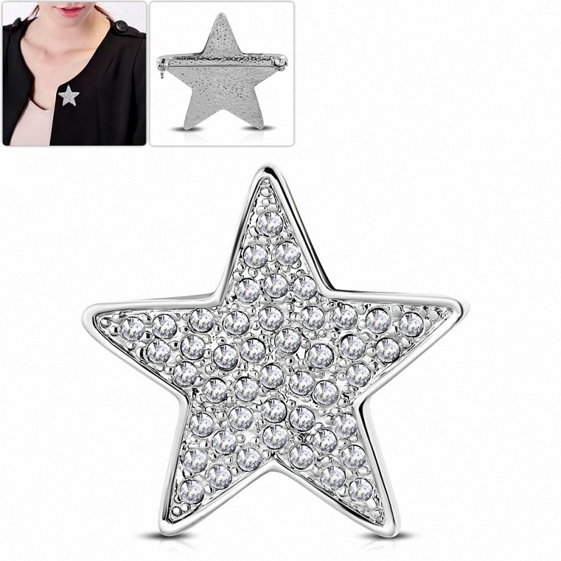 Broche étoile en alliage de mode avec broche étoile transparente CZ