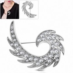 Broche en alliage d'aile d'ange gardien spirale en alliage fashion avec  clear CZ