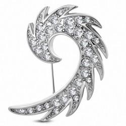 Broche en alliage d'aile d'ange gardien spirale en alliage fashion avec  clear CZ
