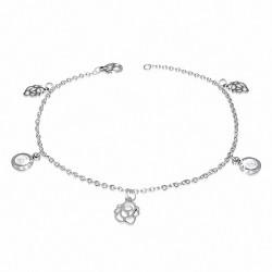 Bracelet à maillons en forme de breloque en forme de cercle de fleurs roses avec cercle de cheville en acier inoxydable
