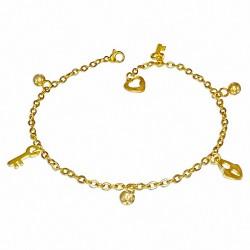 Bracelet à breloques avec clé de cadenas en acier inoxydable doré / chaîne de cheville avec chaîne d'extension