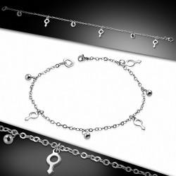 Bracelet à breloques / à cheville en acier inoxydable avec symbole de genre masculin et chaîne de rallonge
