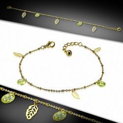 Bracelet à breloques en feuilles coupée en acier inoxydable doré / chaîne de cheville avec chaîne d'extension et péridot CZ