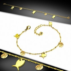 Bracelet à breloques / à cheville en acier inoxydable doré avec chaîne d'extension et topaze à champagne CZ