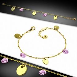 Bracelet à breloques / à cheville ovale en acier inoxydable doré avec chaîne d'extension et rose CZ