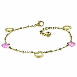 Bracelet à breloques avec bracelet en acier inoxydable doré / chaîne de cheville avec chaîne d'extension et rose CZ