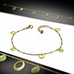 Bracelet à breloques avec bracelet en acier inoxydable doré / chaîne de cheville avec chaîne d'extension et péridot CZ