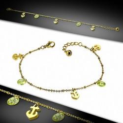 Bracelet à breloques ancre marine en acier inoxydable doré / chaîne de cheville avec chaîne d'extension et péridot CZ