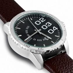 Montre homme |Montre de direction à bracelet en cuir marron imperméable avec cadran noir