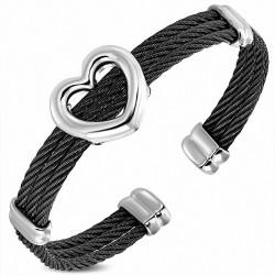 Bracelet manchette en fil torsadé à 3 brins en acier inoxydable noir avec coeur ouvert en forme de coeur d'amour