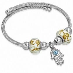 Bracelet de manchette ajustable avec breloques main de fatma fil de câble torsadé celtique en acier inoxydable