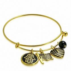 Bracelet ajustable en forme de perle de coeur avec cercle  bracelet en acier inoxydable doré