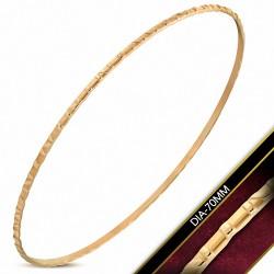 DIA-70mm x 1.8mm  Bracelet rond maigre gravé en acier inoxydable plaqué de couleur d'or rose / rose