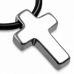 charm de croix latine en carbure de tungstène avec collier de corde en caoutchouc noir